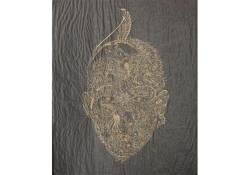 Onur Hastürk,Otoportre, 2018, karamel kağıdı üzerine altın, 49x59 cm / her biri (triptik)