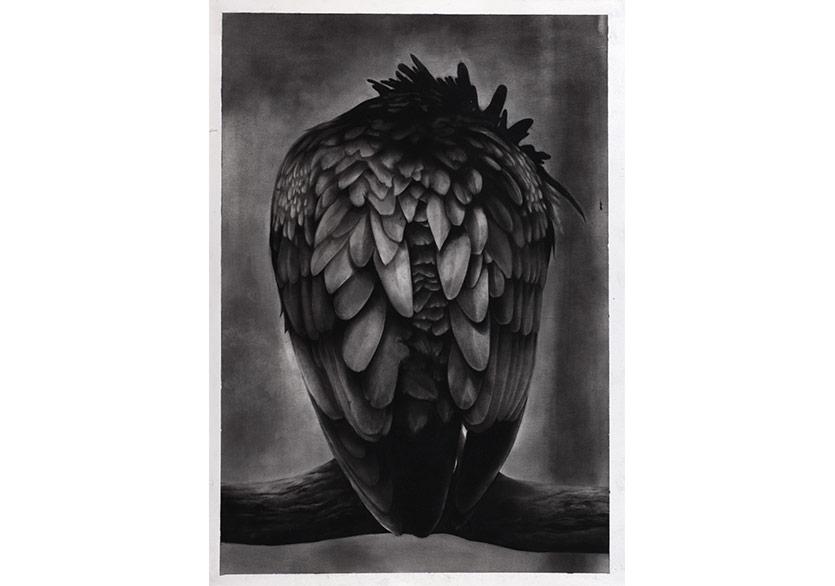 Gizem Akkoyunoğlu,İsimsiz, 2018, kağıt üzerine füzen, 50 x 70 cm