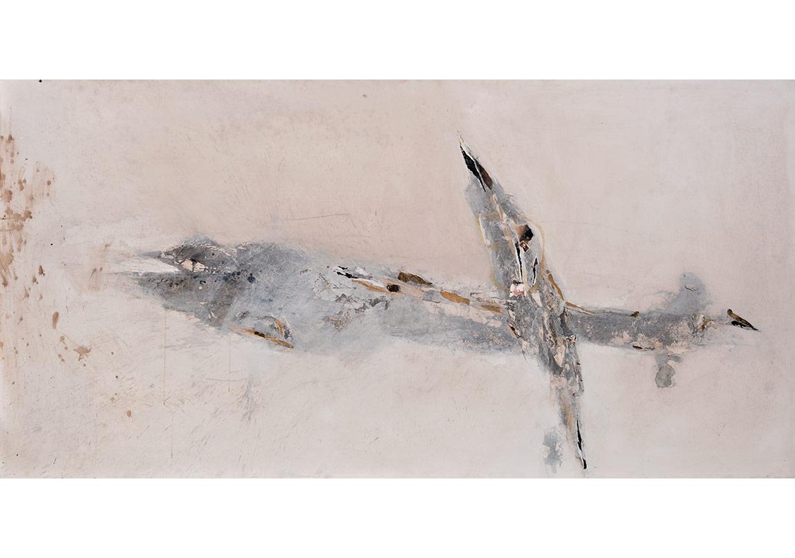 İsimsiz, 2015, tuval üzerine karışık teknik,120 x 240 cm