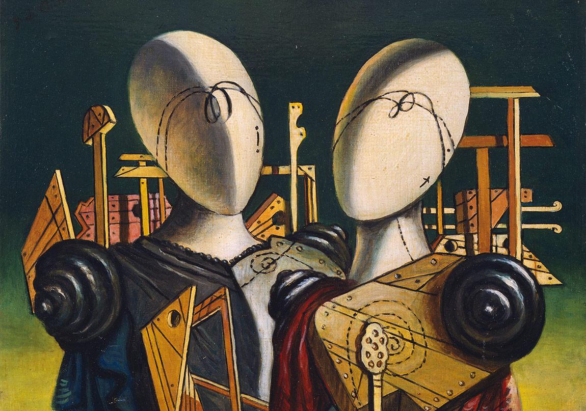 Hektor ile Andromakhe (1970)Tuval üzerine yağlıboya, 30 x 40 cm. Giorgio ve Isa de Chirico Vakfı Koleksiyonu