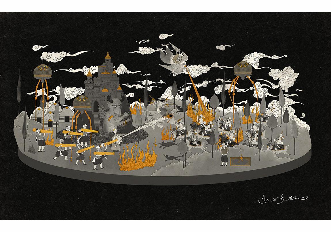 "Murat Palta, ""This war of mine""Fine art kağıt üzerine mono baskı, 57 x 90 cm, 2015"