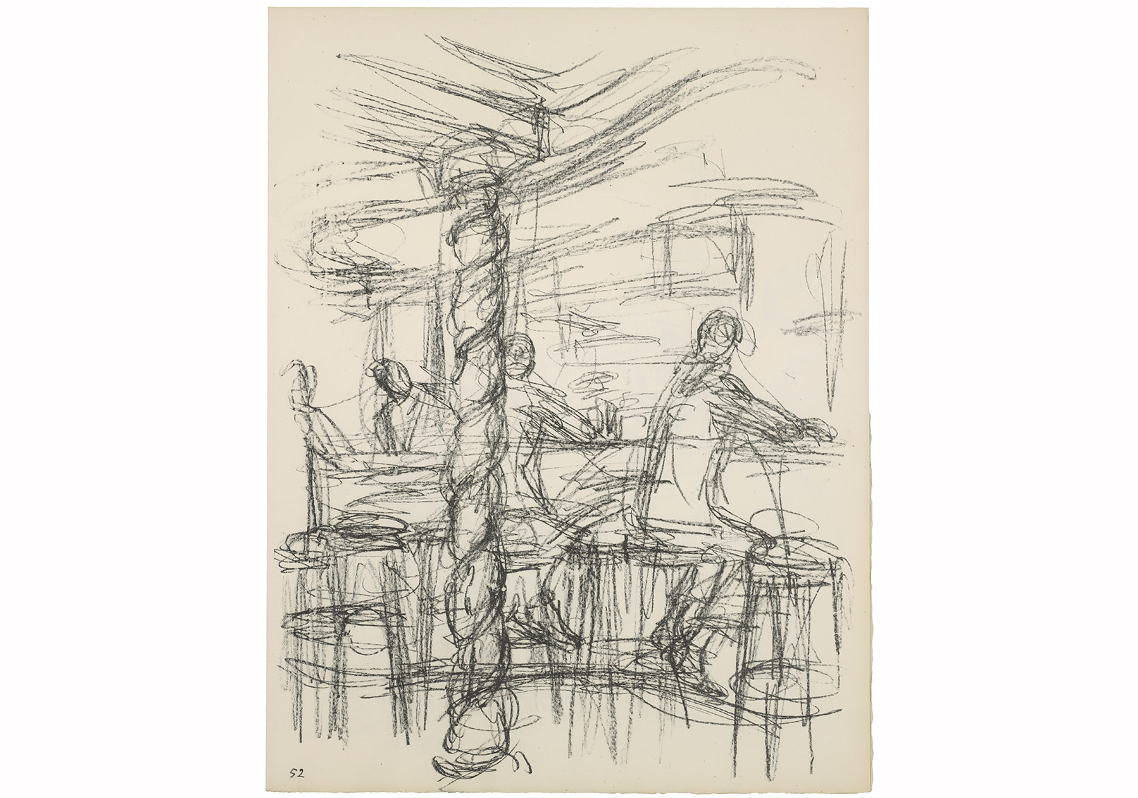 Alberto Giacometti, Chez Adrien'in barı (III) The bar at Chez Adrien (III) 1969'da Sonsuz Paris'te yayımlanan taşbaskı, 52. Plaka Lithograph published in 1969 in Paris without End, plate 52, 42,5 x 32,5 cm Giacometti Vakfı Koleksiyonu, Paris, env. 1994-0865-52 Giacometti Foundation Collection, Paris, inv. 1994-0865-52 © Estate Giacometti (Fondation Giacometti + ADAGP) Paris, 2015
