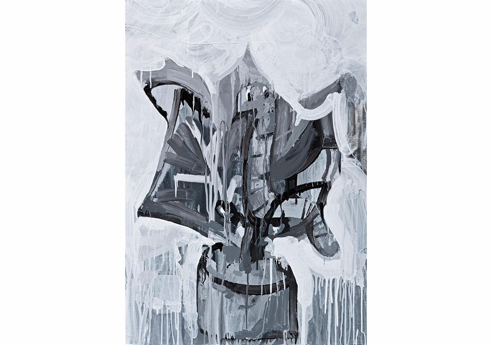 """Erkut Terliksiz, """"An Andolusian Dog / Audition I""""Fotoblok üzerine akrilik, 100 x 70 cm, 2015"""