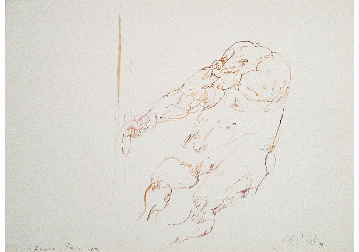 Kapının Ardındaki Sürpriz, 4 Aralık 1973,Arches kağıt üzerine renkli ekolin, bambu kalem,55 x 75 cm,Sanatçı Koleksiyonu
