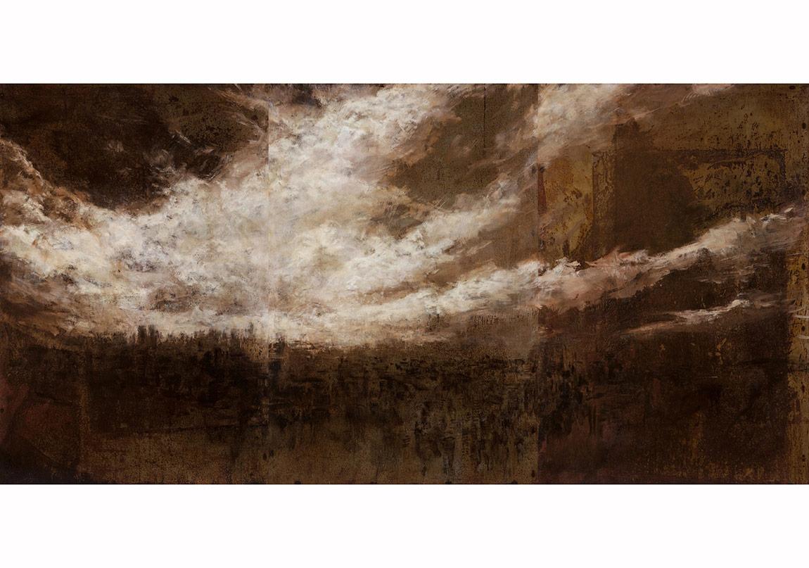 berkay bugdanoglu, vritra,2014, celik uzerine yagli boya, 150x 300cm