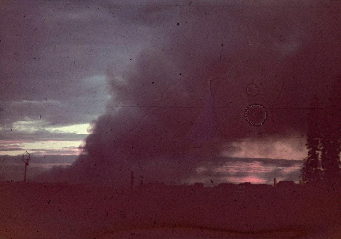 GünbatımıŠejla KamerićGünbatımı, 2008SD video animasyonu, renkli1'20''Animasyon: Ivan RamadanKarol Grabski'nin 1943'te Varşova Gettosu isyanı sırasında çektiği fotoğraftan