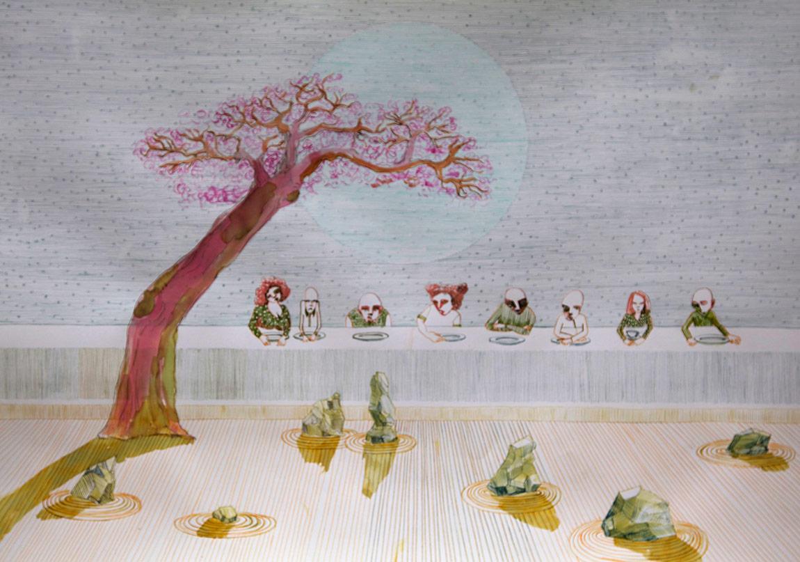Ruya Notlari, Tokyo' yu Hayal Etmek / Dreaming of Tokyo, kagit uzerine ecoline,06 2014