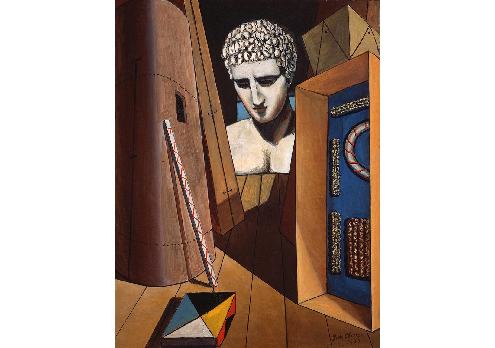 """Merkurius'un Derin Düşünüşü (yak. 1973) (""""1936"""" tarihi düşülerek imzalanmıştır) Tuval üzerine yağlıboya, 65 x 50 cm. Giorgio ve Isa de Chirico Vakfı Koleksiyonu"""