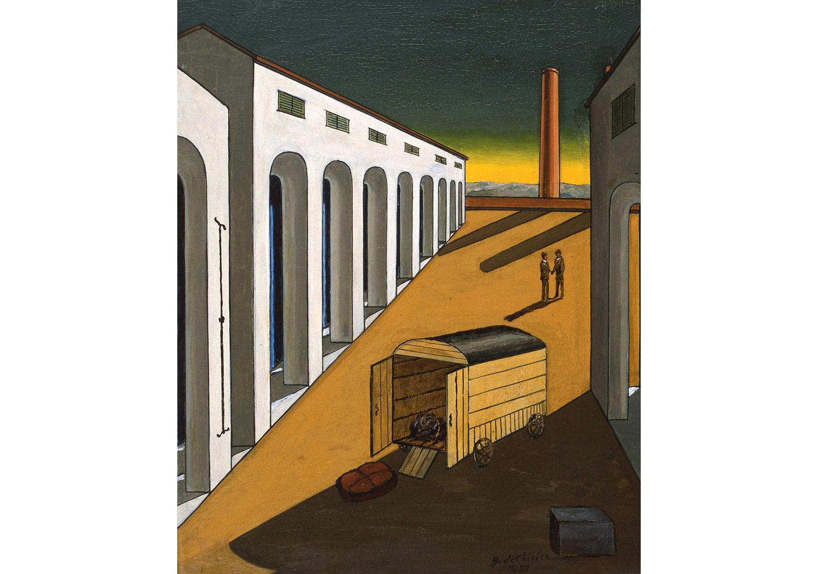 """Taşınan Eşyanın Gelişi (yak. 1965) (""""1951"""" tarihi düşülerek imzalanmıştır) Tuval üzerine yağlıboya, 50 x 40 cm. Giorgio ve Isa de Chirico Vakfı Koleksiyonu"""