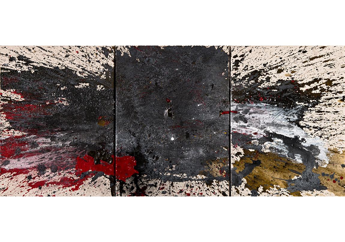 Tam Ortasında, 2015, tuval üzerine karışık teknik, 32 x 42 cm x 3,Triptik