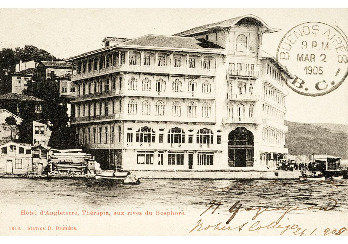 Tarabya'daki Tokatlıyan Oteli'ni gösteren kartpostal, Tarihsiz, Pierre de Gigord Koleksiyonu.