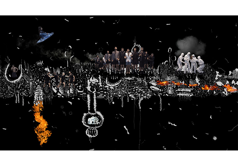 """İnci Eviner, """"Olağan Şartlar"""", 2016, 3 kanallı HD video, 2 dk. 40 görüntü, Aichi Triennale, Galeri Nev İstanbul ve sanatçının izniyle."""