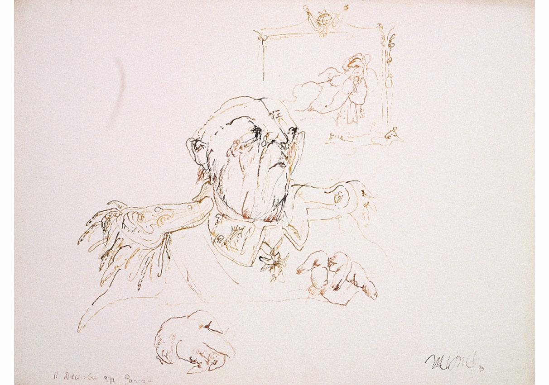 Önemli Biri, 11 Aralık 1975,Kağıt üzerine renkli ekolin,57 x 74 cm,Sanatçı Koleksiyonu