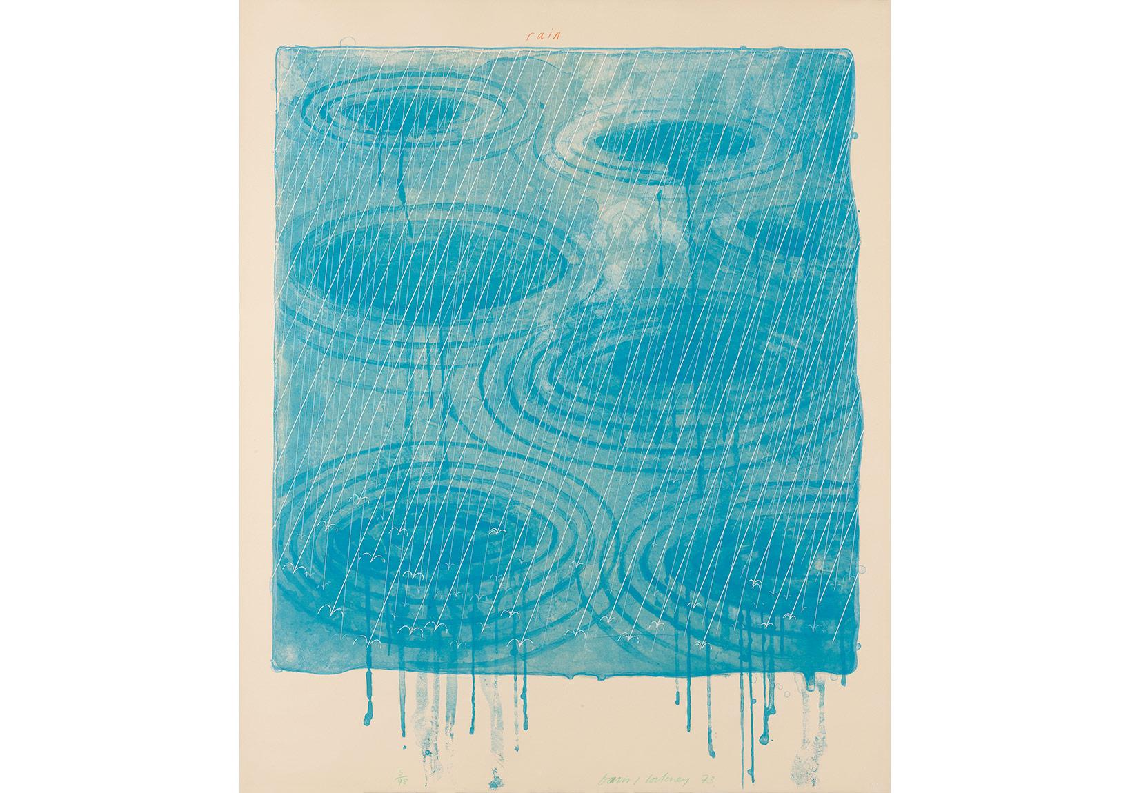 """Daid Hockney, Yağmur """"Hava Durumu"""" Serisinden (1973), Taş Baskı, 98x80 cm."""
