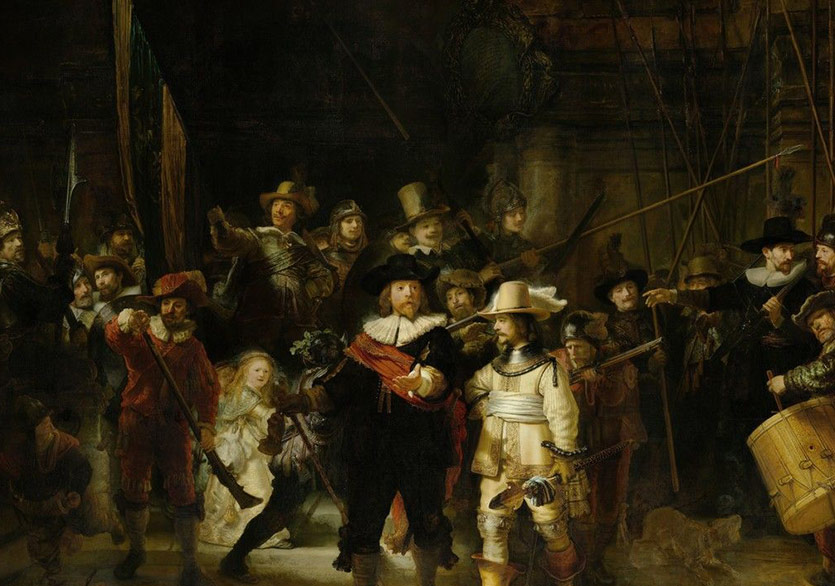 Rembrandt van Rijn,The Company of Frans Banning Cocq and Willem van Ruytenburch (The Night Watch),1642,Rijksmuseum, Amsterdam